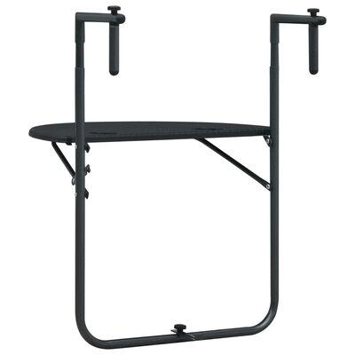 vidaXL Balkongbord svart 60x64x83,5 cm plast konstrotting, Svart