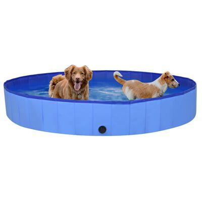 vidaXL Hopfällbar hundpool blå 200x30 cm PVC