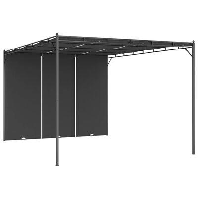 vidaXL Trädgårdspaviljong med draperier 4x3x2,25 m antracit