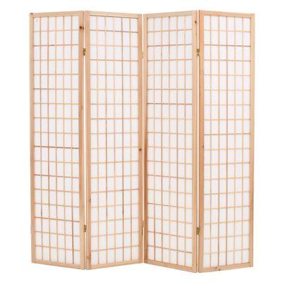 vidaXL Rumsavdelare med 4 paneler japansk stil 160x170 cm naturlig