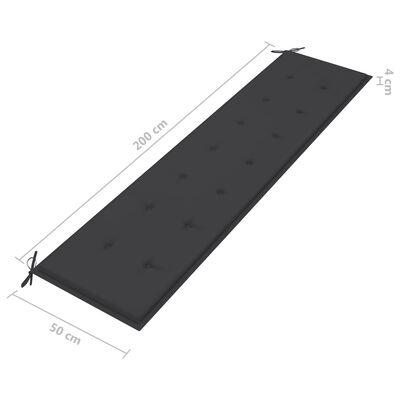 vidaXL Bänkdyna för trädgården antracit 200x50x4 cm