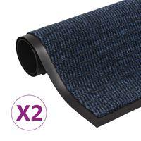 vidaXL Dörrmattor 2 st rektangulär tuftad 90x150 cm blå