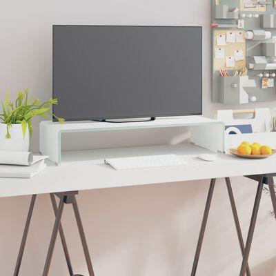 vidaXL TV-bord glas vit 70x30x13 cm