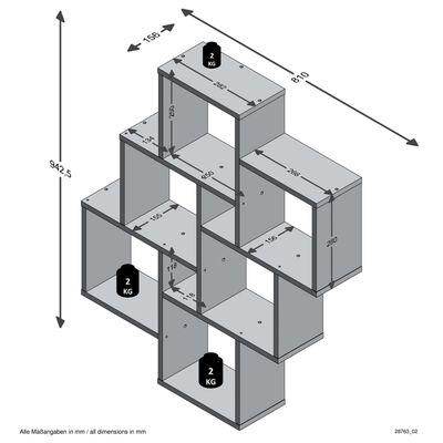 FMD Väggmonterad hylla med 8 fack antik ek