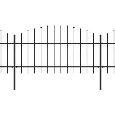 vidaXL Trädgårdsstaket med spjuttopp stål (1-1,25)x6,8 m svart,