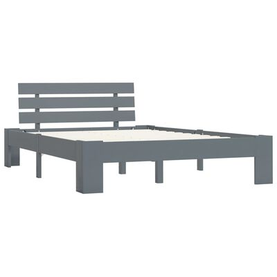 vidaXL Sängram grå massiv furu 120x200 cm