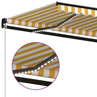 vidaXL Markis manuellt infällbar med LED 450x350 cm gul och vit