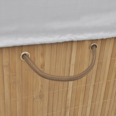 vidaXL Tvättkorg i bambu rektangulär naturfärg