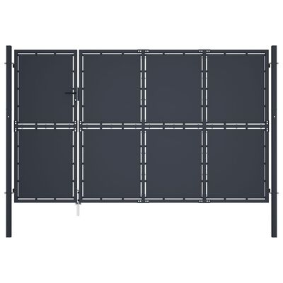 vidaXL Trädgårdsgrind stål 350x150 cm antracit