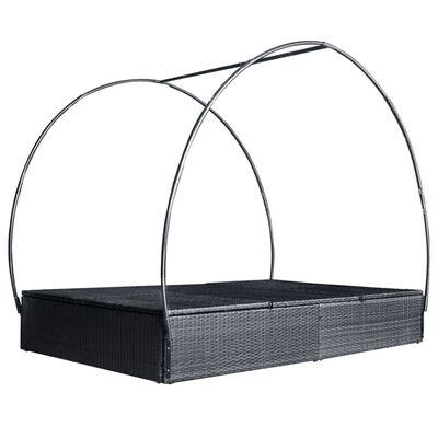 vidaXL Dubbel solsäng med tak konstrotting svart