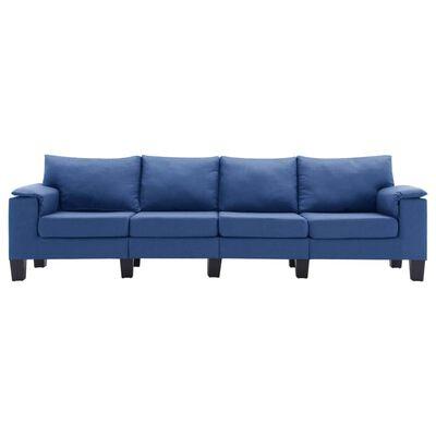 vidaXL 4-sitssoffa blå tyg