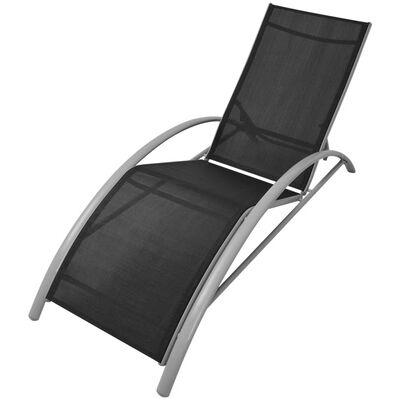 vidaXL Solsängar med bord aluminium svart