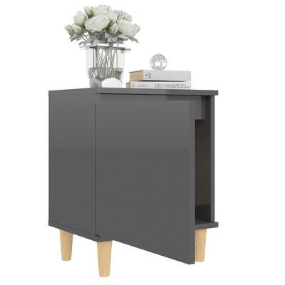 vidaXL Sängbord med ben i massivt trä grå högglans 40x30x50 cm
