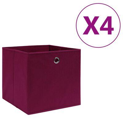 vidaXL Förvaringslådor 4 st non-woven tyg 28x28x28 cm mörkröd