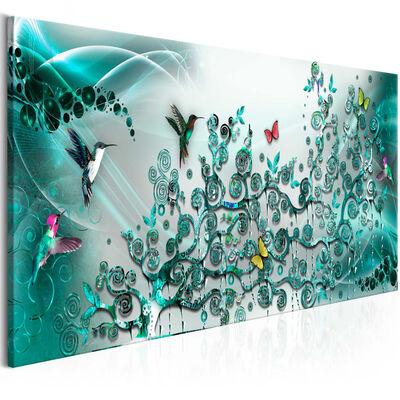 Tavla - Hummingbirds Dance (1 Part) Turquoise Narrow - 120x40 Cm