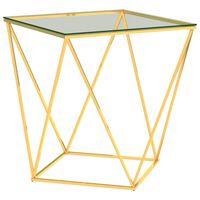 vidaXL Soffbord guld och transparent 50x50x55 cm rostfritt stål
