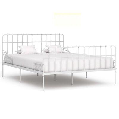 vidaXL Sängram med ribbotten grå metall 200x200 cm