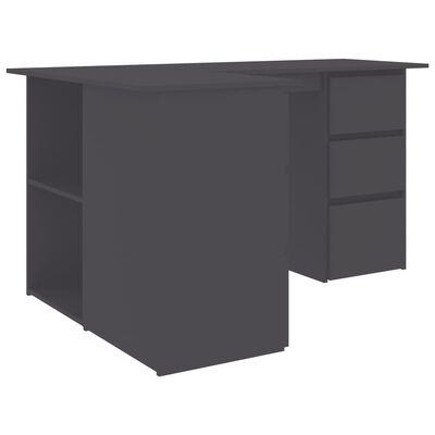 vidaXL Hörnskrivbord grå 145x100x76 cm spånskiva