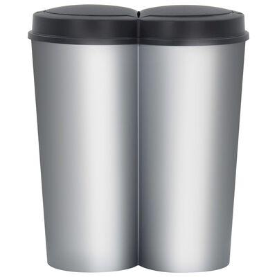 vidaXL Dubbel sophink silver och svart 50 L