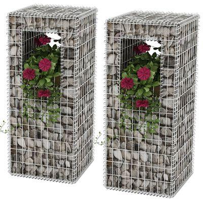 vidaXL Gabionkorg med planteringsmöjlighet 2 st stål 50x50x120 cm