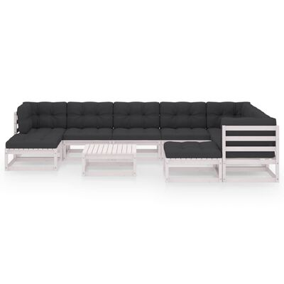vidaXL Loungegrupp med dynor 10 delar vit massiv furu