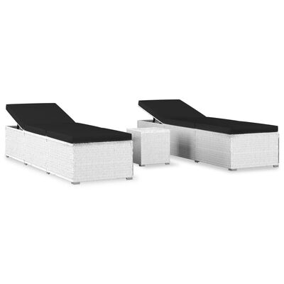 vidaXL Solsängar och sidobord 3 delar konstrotting vit