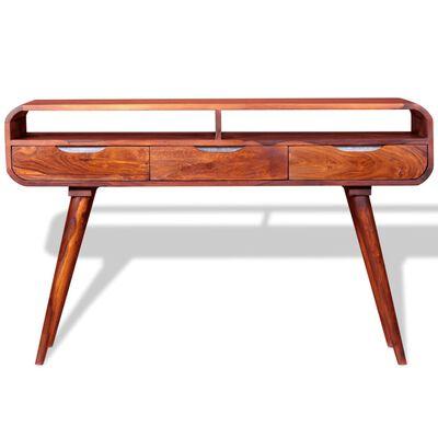 vidaXL Konsolbord i massivt sheshamträ 120x30x75 cm