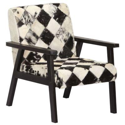 vidaXL Fåtölj svart och vit äkta läder