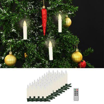 vidaXL Trådlösa LED-ljus med fjärrkontroll 50 st varmvit