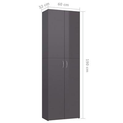 vidaXL Kontorsskåp grå högglans 60x32x190 cm spånskiva