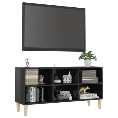vidaXL TV-bänk med massiva ben svart högglans 103,5x30x50 cm