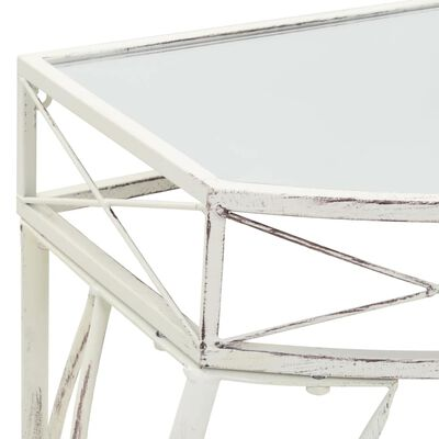 vidaXL Sidobord fransk stil metall 82x39x76 cm vit