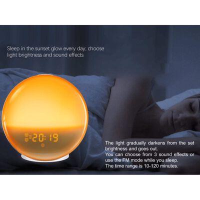 Alarmklocka med solnedgång och soluppgång - Vit