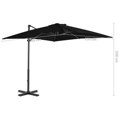 vidaXL Frihängande parasoll med aluminiumstång svart 250x250 cm