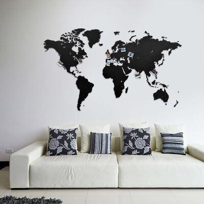 MiMi Innovations Väggdekoration världskarta trä Luxury svart 130x78 cm