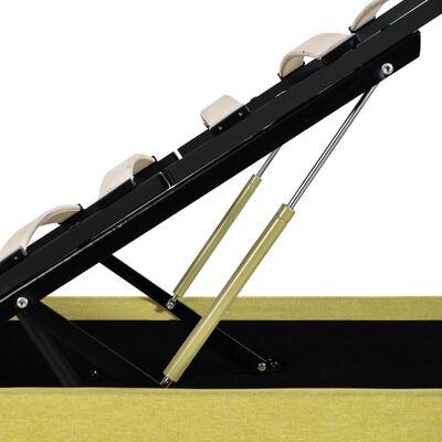 vidaXL Sängram med hydraulisk förvaring och LED limegul tyg 180x200 cm