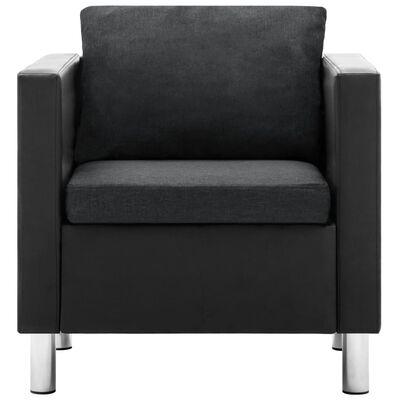 vidaXL Fåtölj svart och mörkgrå konstläder