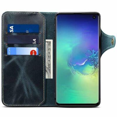 Mobilplånbok 3-kort äkta läder Samsung Galaxy S10E (SM-G970F) Blå