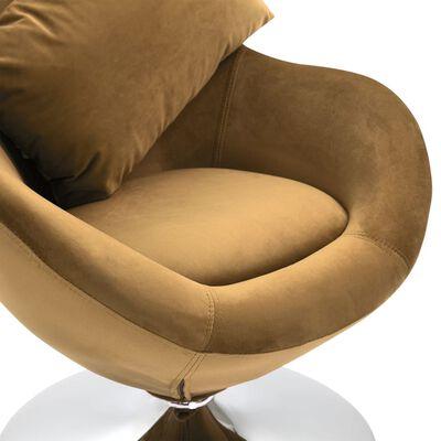 vidaXL Äggformad snurrfåtölj med dyna brun sammet