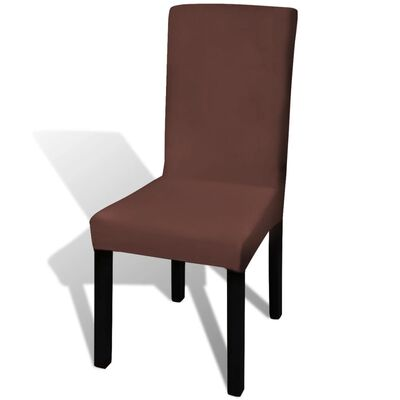 vidaXL Rakt elastiskt stolsöverdrag 6 st brun