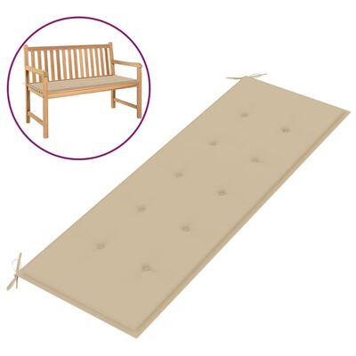 vidaXL Bänkdyna för trädgården beige 150x50x3 cm