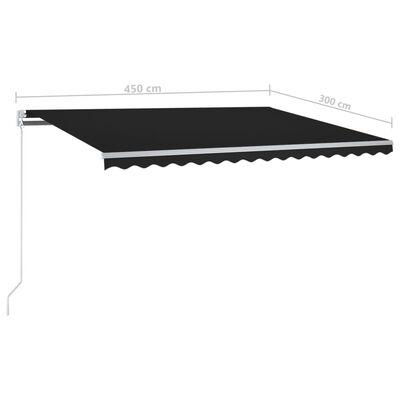 vidaXL Automatisk markis med vindsensor & LED 450x300 cm antracit