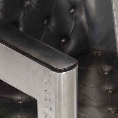 vidaXL Aviator Fåtölj äkta läder svart