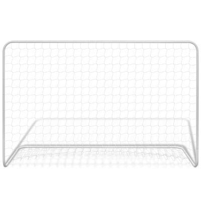 vidaXL Fotbollsmål med nät 182x61x122 cm stål vit
