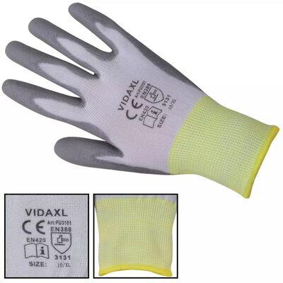 vidaXL Arbetshandskar PU 24 par vit och grå strl. 10/XL