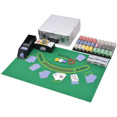 vidaXL Kombinerat poker-/Blackjack-set med 600 lasermarker aluminium