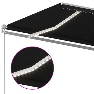 vidaXL Markis manuellt infällbar med LED 500x300 cm antracit
