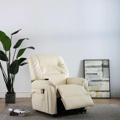 vidaXL Elektrisk massagefåtölj m. uppresningshjälp gräddvit konstläder