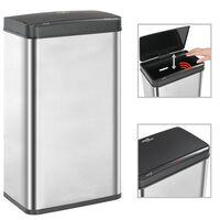 vidaXL Soptunna med automatisk sensor silver/svart rostfritt stål 70 L