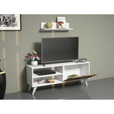 Homemania TV-bänk Party 120x29,7x48,6 cm vit och valnötsträ